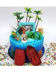 MOANA Tropical Themed Moana Birthday Cake Topper Set Featuring Moana Figure and Decorative Accessories