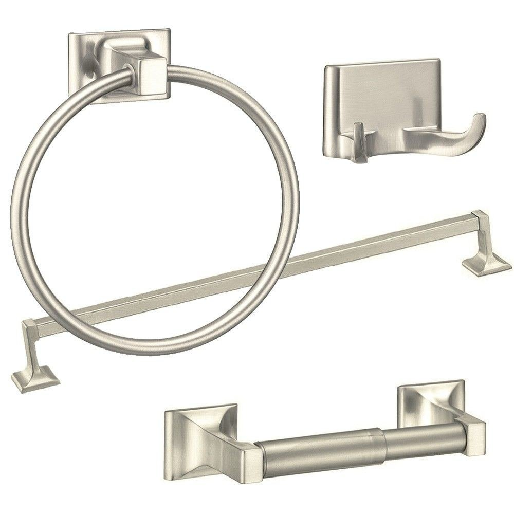 Brushed Nickel 4 Piece Towel Bar Set Bath Accessories Bathroom Hardware