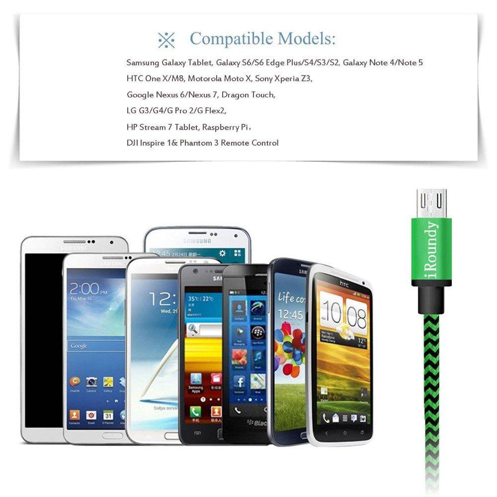 iRoundy Android Micro USB Cavo , 5 Pack 6FT/2m Ultra Resistente Nylon Intrecciato Cavo di Ricarica Micro USB per Android , Samsung , HTC , Sony , Nexus , Motorola , Huawei , LG , Nokia ed altri