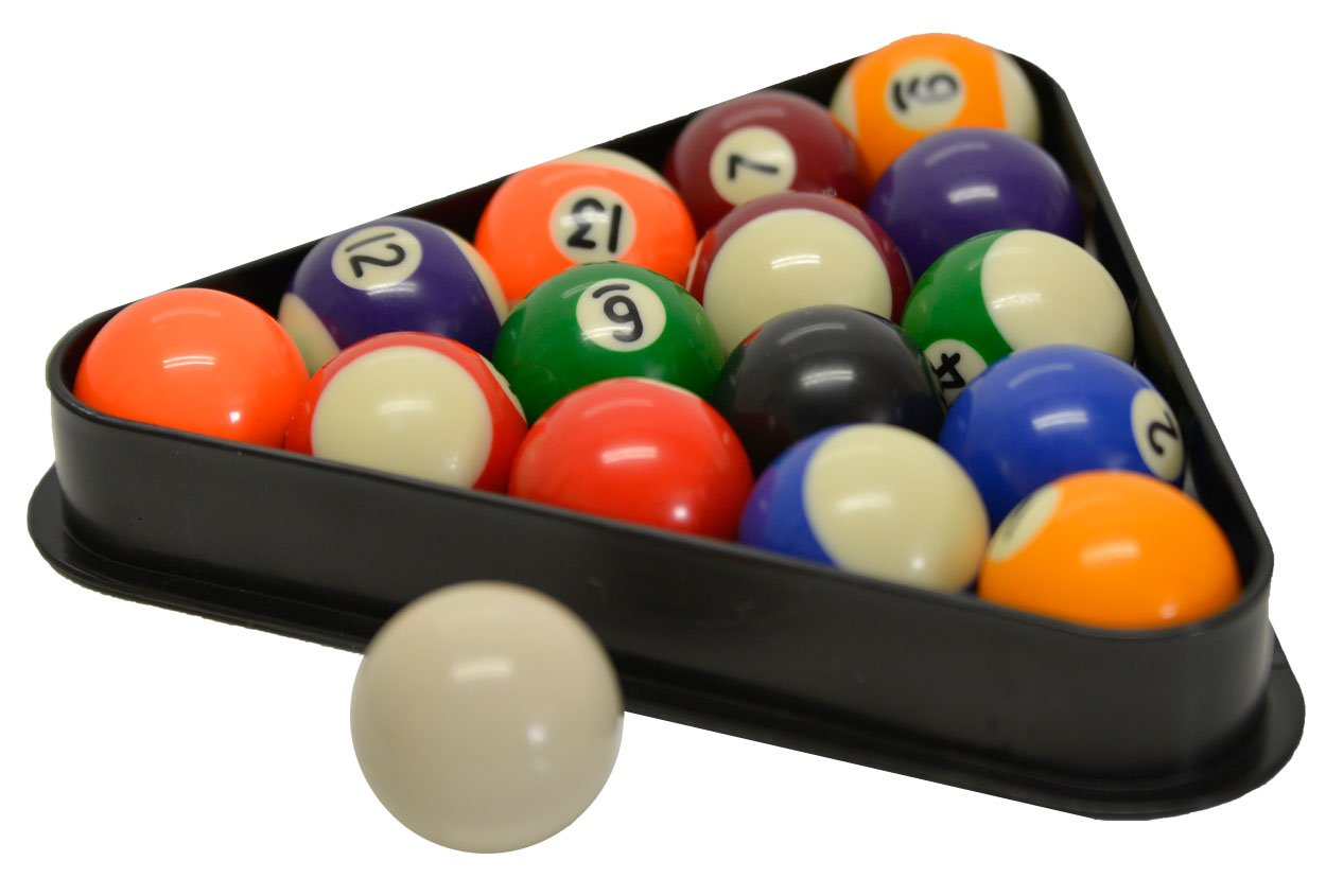 Sterling Gaming Miniature Pool and Billiard Balls Set 1 1/2'' with Triangle Rack