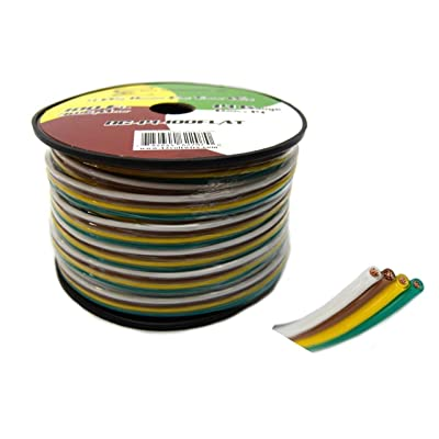 Best Connections Flat Trailer Light Cable Wiring Harness 100 Feet 14 AWG 4 Wire CCA: Automotive