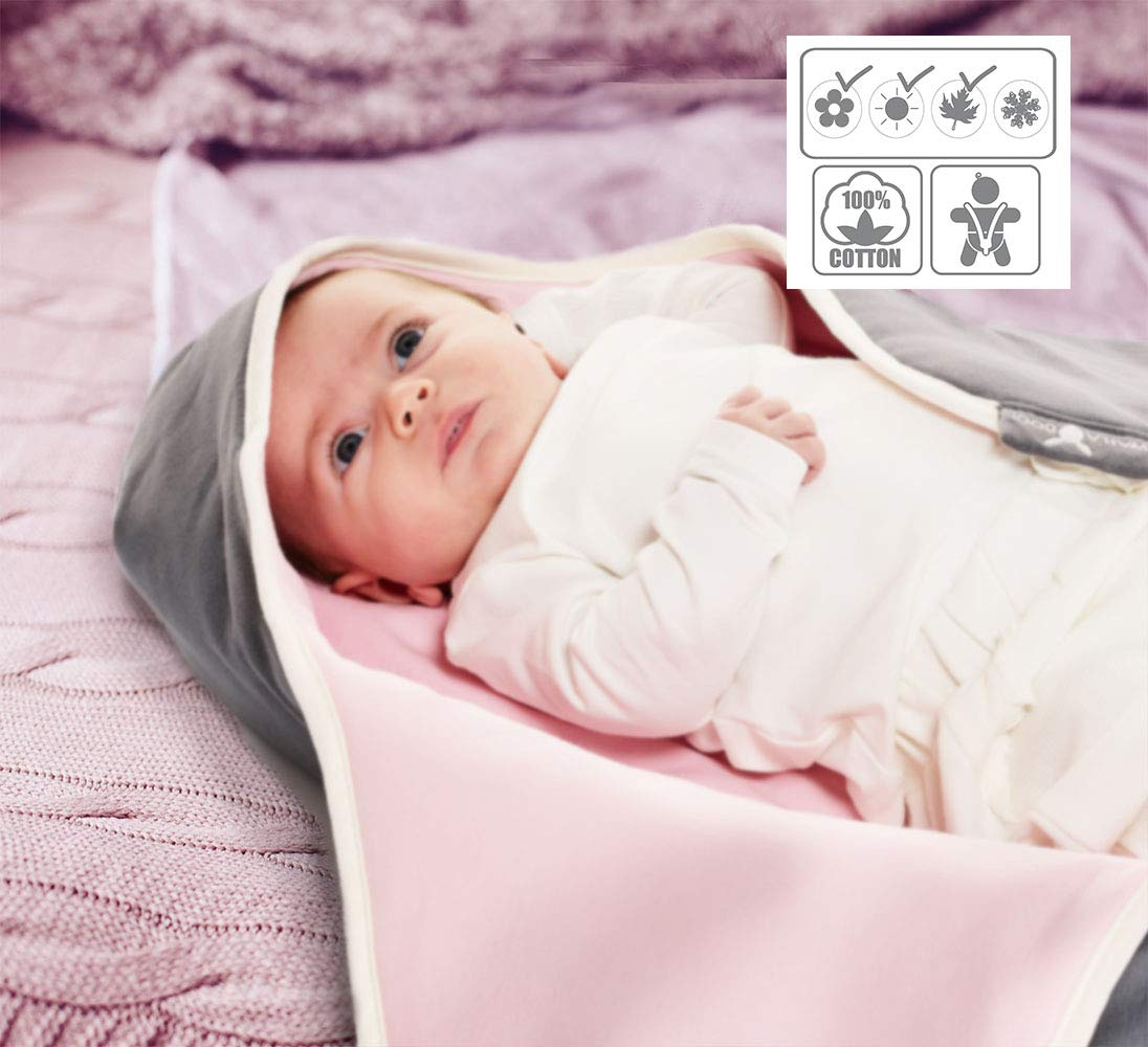 100 Percent Pure Cotton Easy For Travel and Home Super Soft Hooded Receiving Blanket Moonless Night Wallaboo Baby Blanket Coco 0-10 Months