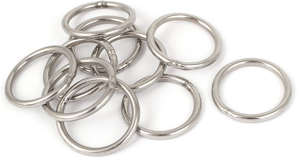 Uxcell a16022600ux0115 M4 x 30mm 201 Stainless Steel Strapping Welded Round O Rings 10 Pcs Pack of 10