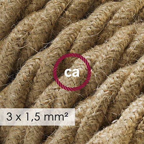Cable electrico de sección grande 3x1,50 trenzado trenzado trenzado - Jute TN06 - 20 Metros 8e7e4e