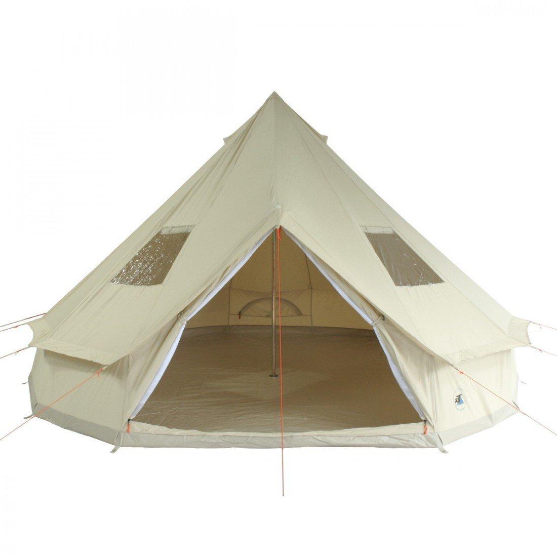 10T Camping-Zelt Desert 10 Tipi mit XXL Schlafbereich für 5 - 10 Personen Outdoor Familienzelt aus Baumwolle (Mischgewebe 35/65), Pyramidenzelt Idianerzelt mit Wohnraum, eingenähte Bodenwanne, wasserdicht