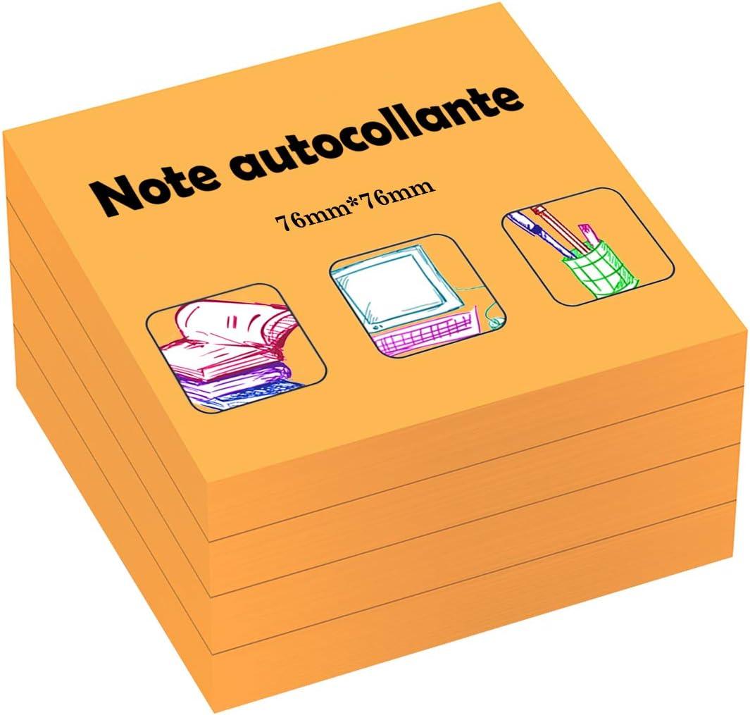 Noir Post it de 76 * 76mm ZCZN Post it 400 Feuillets 100 Feuillets par Blocs Notes Autocollantes Convient aux M/émos Rappele Messages