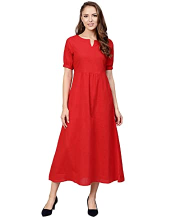 1212e3a3a92 Jaipur Kurti Cotton Slub Red Solid Kurta  Amazon.in  Clothing ...