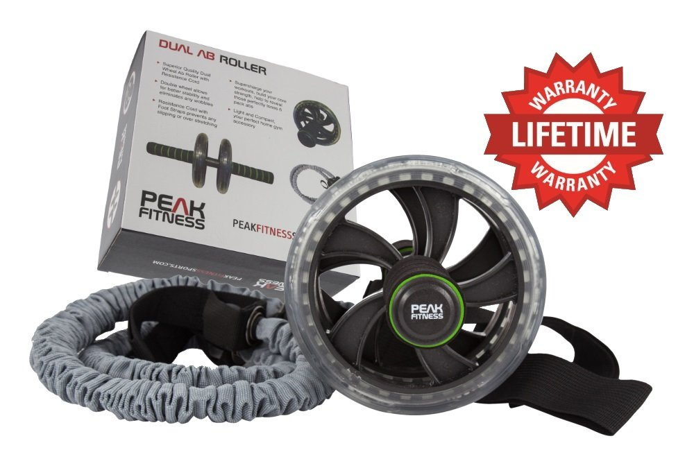 Dual Ab Roller Trainer Wheel with Resistance Bands & Foot Straps. Tone Your Abs, Core & Lose Belly Fat. Abdominal Training Workout Slider by Peak Fitness - Lifetime Guarantee