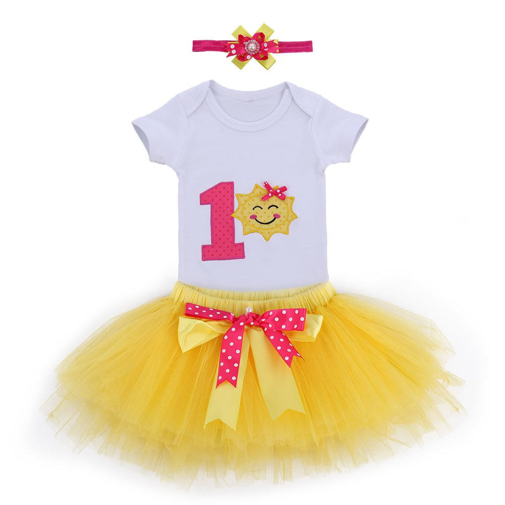 b6e74e4f2987 FYMNSI Toddler Kids Baby Girl 1st Birthday Cake Smash Outfit Floral One  Short Sleeve Romper Fancy Tutu Skirt Bow Headband First Birthday Party  Clothes Photo ...