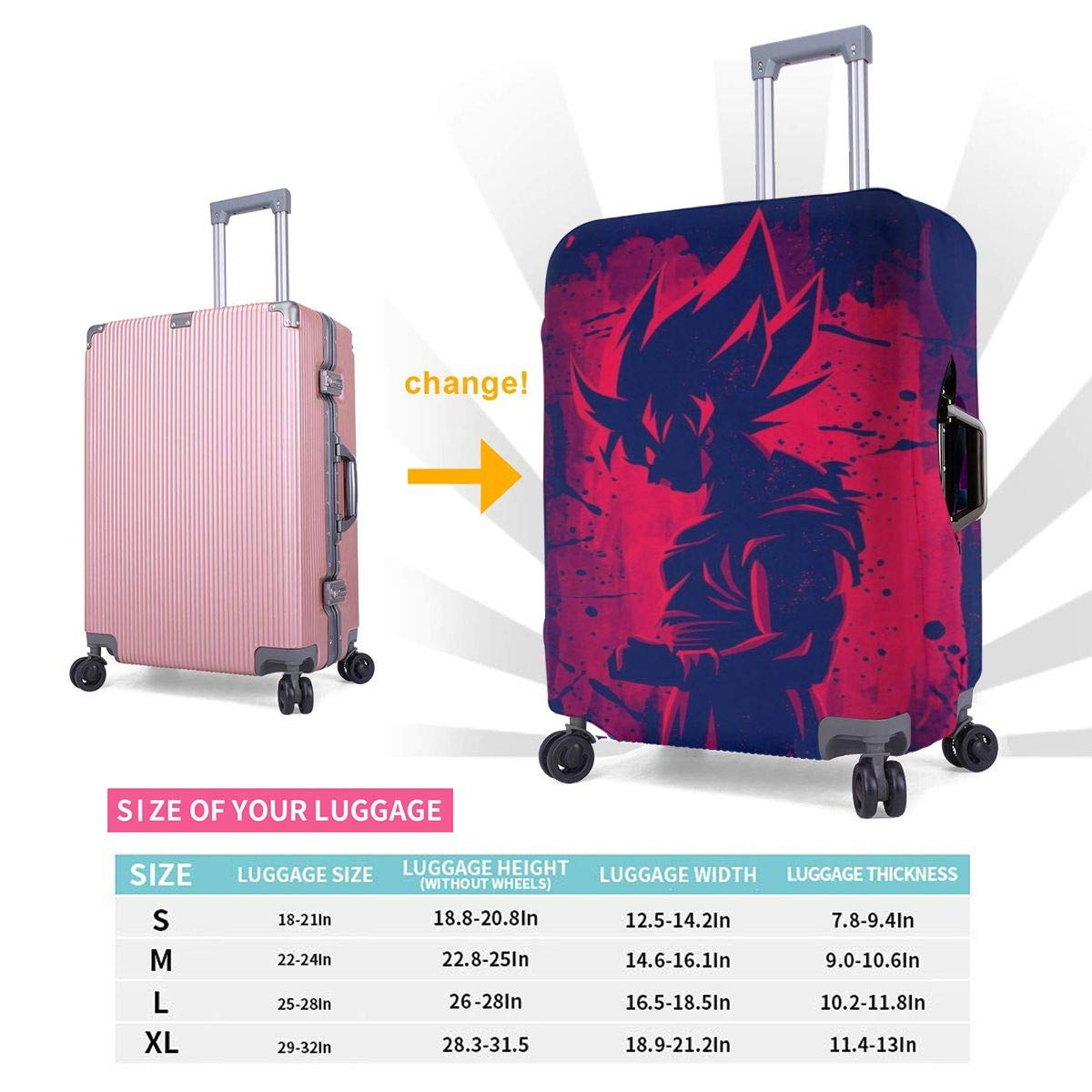 Travel Luggage Cover Dragon Ball Z Red Goku Travel Luggage Cover Suitcase Protector Fits 26-28 Inch Washable Baggage Covers