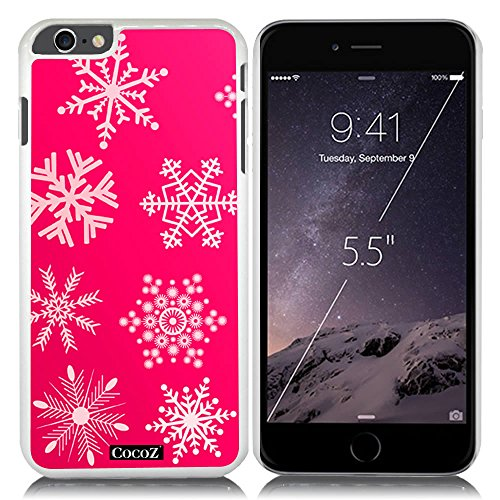 New Apple iPhone 6 s Plus 5.5-inch CocoZ® Case Beautiful Christmas Snow PC Material Case (Hot Pink&White PC Snowflake - Womens Glasses Chanel