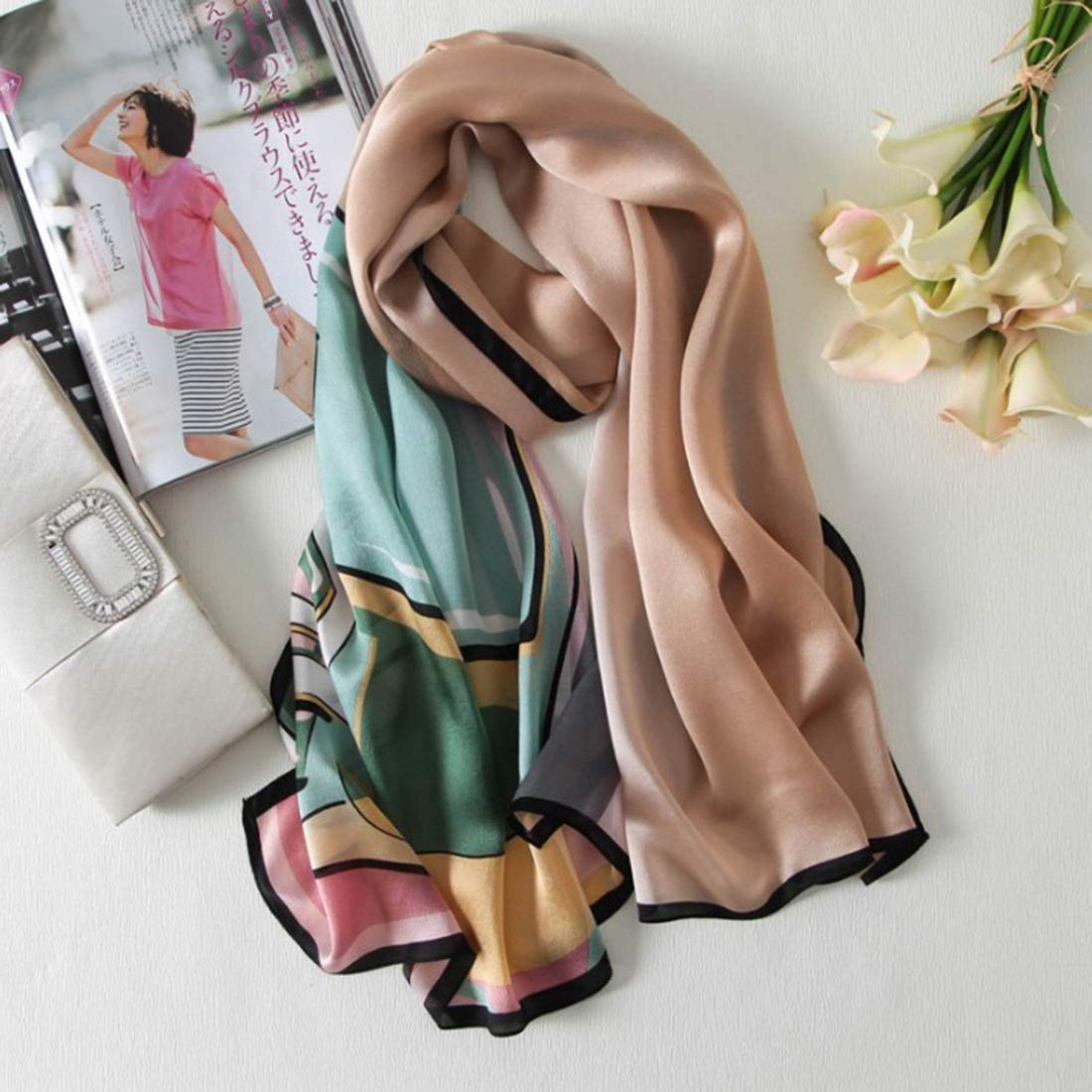 Green CEFULTY Summer Shawl Rectangle Lady Large Size Seaside Adumbral Sunscreen Silk Shawl (color   Green)