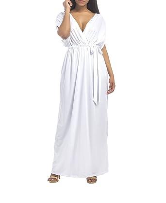 Landove Vestiti da Cerimonia Donna Eleganti Lunghi Abito Scollo V Profondo  Sexy Vestito Maniche Corte da 6ea9c790ce8