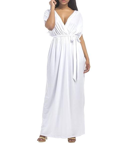 04a04871b437 Landove Vestiti da Cerimonia Donna Eleganti Lunghi Abito Scollo V Profondo  Sexy Vestito Maniche Corte da