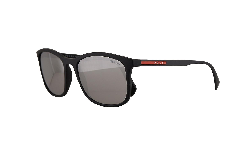 2dbb83c11ea6 Amazon.com  Prada PS01TS Sunglasses Black Rubber w Light Grey Mirror Silver  56mm Lens DG02B0 SPS01T PS 01TS SPS 01T  Clothing