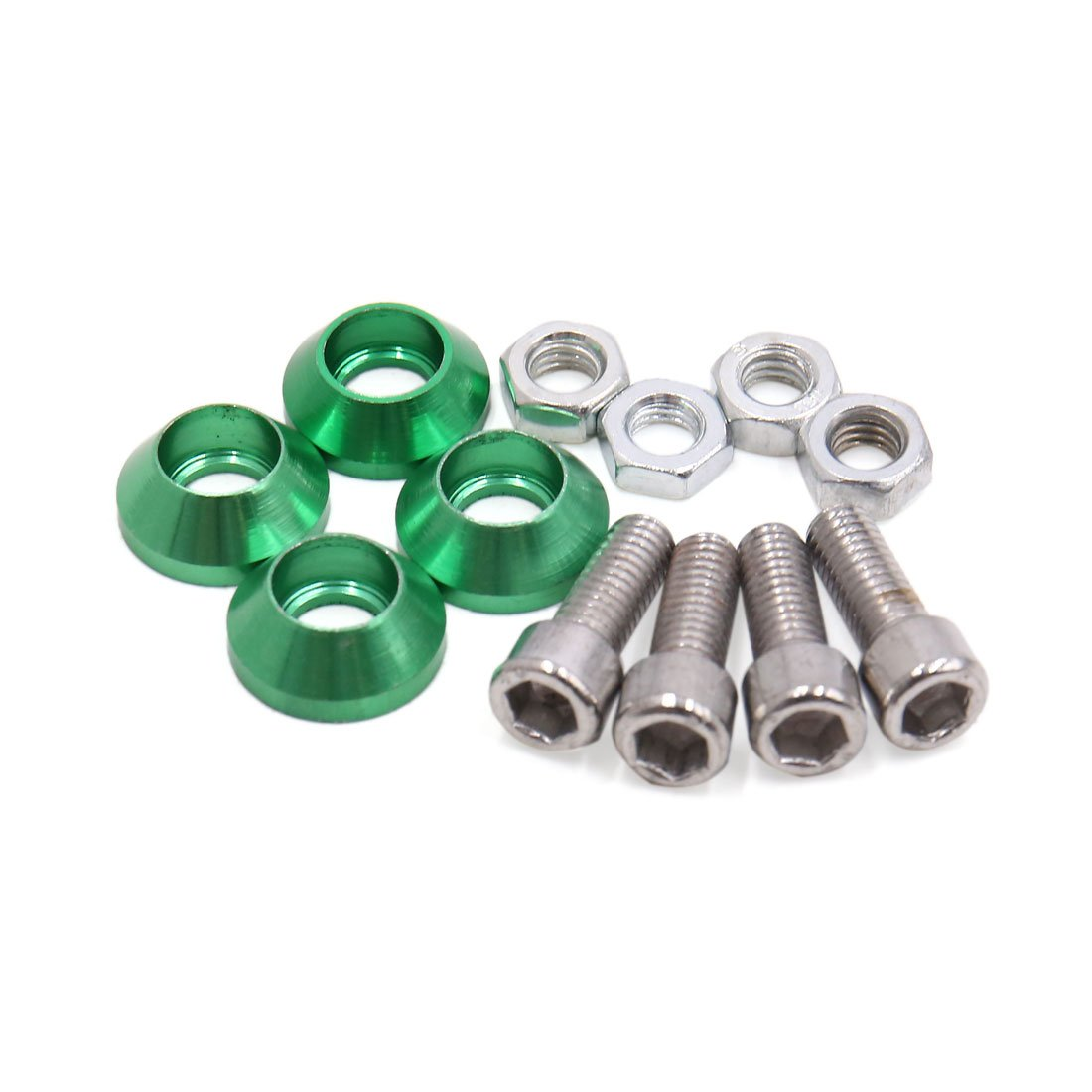 uxcell Universal Green Metal Motorcycle Windscreen License Plate M6 Bolts Screw 4Pcs a17061900ux1438