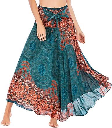 HOOUDO Jupe Longue Femme,Jupe Indienne Femme,Jupe RéTro,Solide Hippie BohèMe Gypsy Boho Fleurs Taille éLastique Floral Halter Jupe Robe