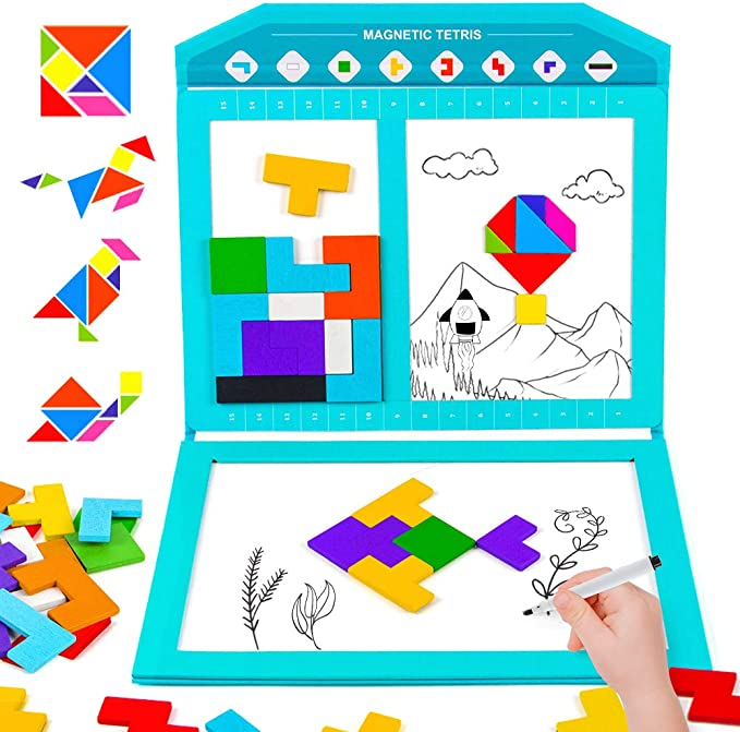 40 Pcs IBC Puzzle Brain Teasers Toy Tangram Jigsaw Intelligence Colorful 3D Russian Blocks Game STEM Montessori Educational Gift for Baby Kids