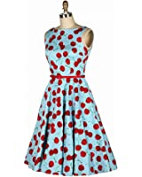 Artkingdome 50's 60's Sleeveless Cherry Vintage Retro Swing Picnic Party Beauty Dress