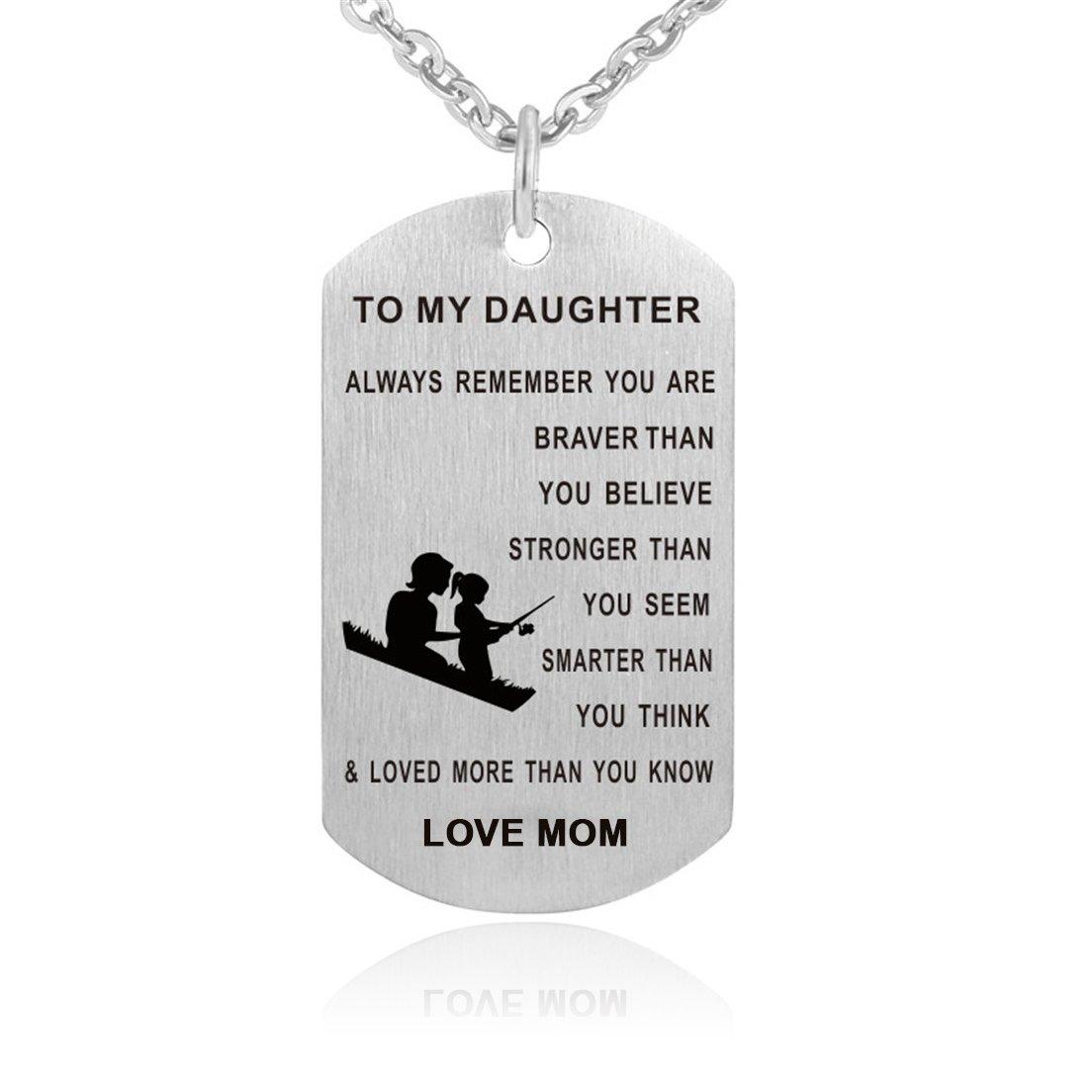 Inspirierende Halskette aus Edelstahl - Erkennungsmarke mit Aufschrift 'Always Remember You Are Braver' - Geburtstagsgeschenk für Tochter und Sohn Cozylife XL062
