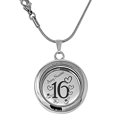 Personalised 16th Birthday Memory Locket Necklace Made With Crystals From Swarovski Gift Boxed Text Engraved oLvQo
