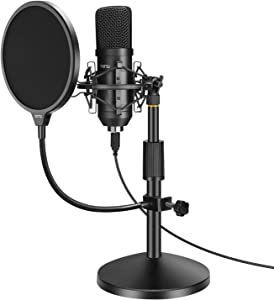 YOTTO USB Microphone 192KHZ/24BIT Condenser Cardioid Microphone Plug & Play PC Computer Mic for Podcast, Streaming, YouTube, Gaming, Recording with Pop Filter, Mic Stand, Shock Mount