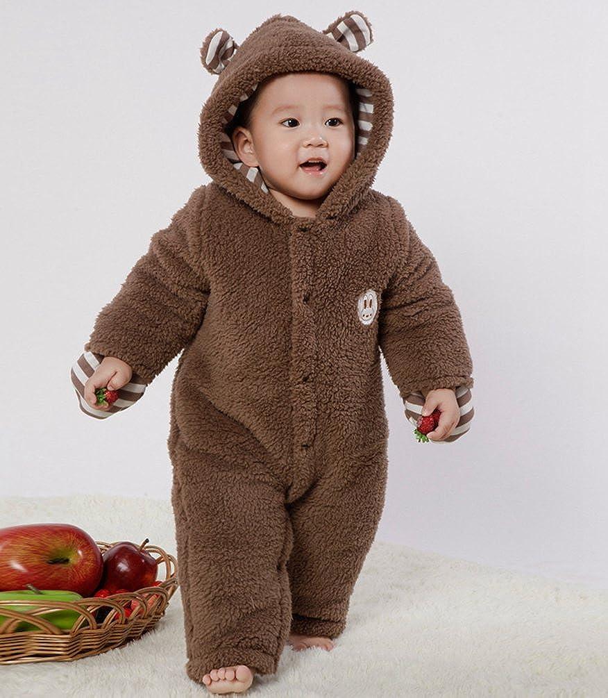 Baymate Unisex Baby Dicker Rompers mit Kapuze Warm Strampler Strampelanzug Button-down Jumpsuits Kletterbekleidung mit Handschuhe