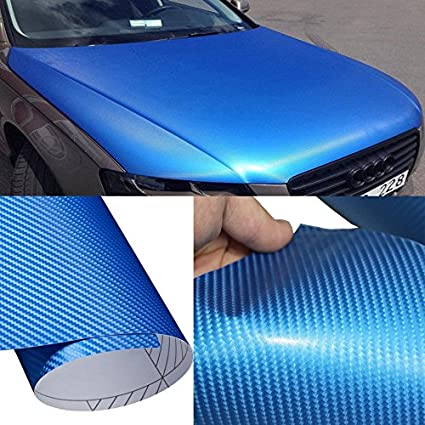 DIYAH 4D Blue Carbon Fiber Vinyl Wrap Sticker with Air Realease Bubble Free anti-wrinkle (12' x 60' / 1FT x 5FT)