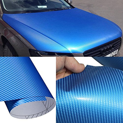 (DIYAH 4D Blue Carbon Fiber Vinyl Wrap Sticker with Air Realease Bubble Free Anti-Wrinkle (120