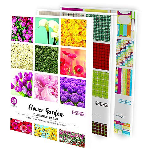 Colorbok Designer Paper Pads, Houndstooth, Flower Garden, and Sunny Days Designs, 8.5'' x 11'' Total of 355 Sheets
