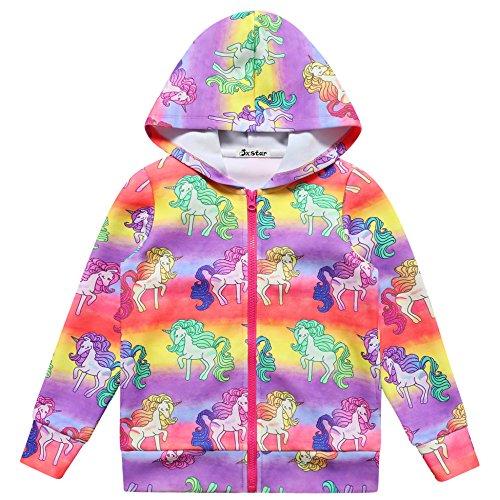 Jxstar Girls Hoodie Bomber Jacket Rainbow Unicorn Print Long Sleeve Full Zip Pocket Coat Outwear Rainbow Unicorn 120