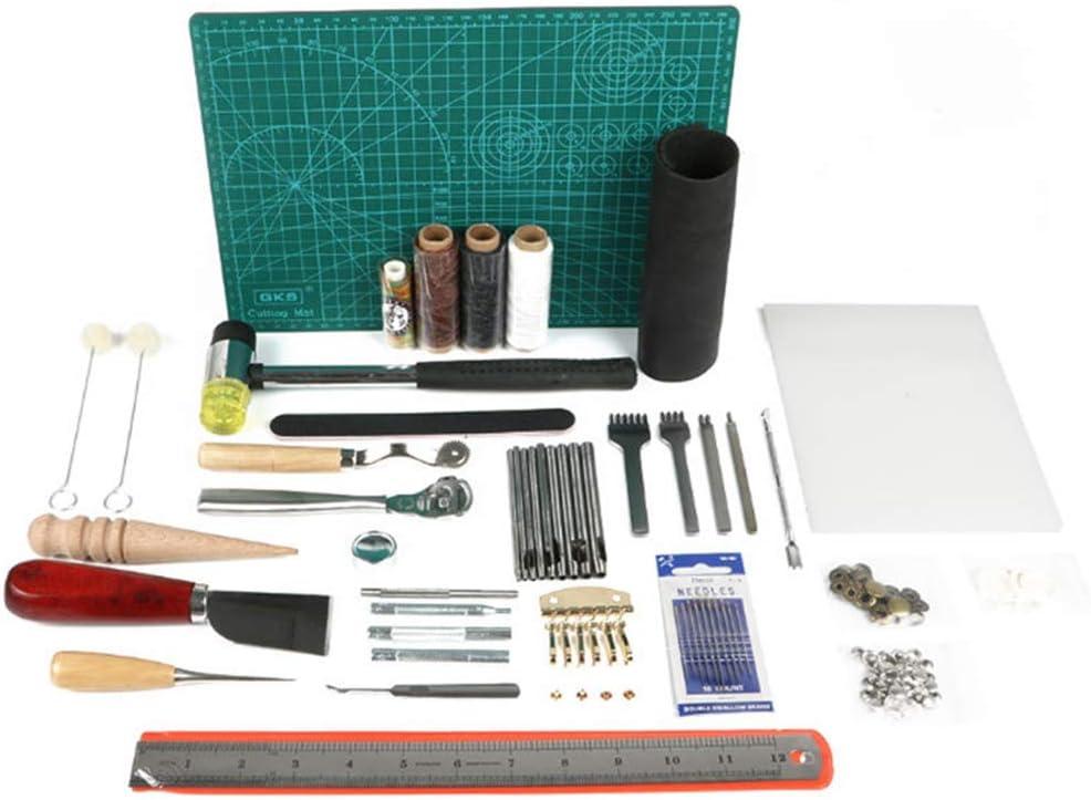 Songlela 61 Piezas de Herramientas de Artesanía de Cuero Kit, DIY Herramientas de Cuero Talladas de Impresión de Costura Manual de Bricolaje Accesorios
