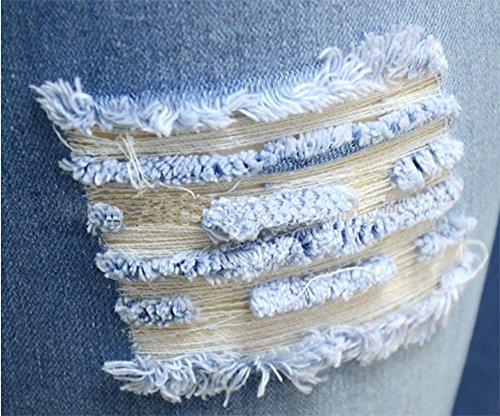 desgarrada Pantalones alta cintura cintura Azul con de de mujer mezclilla alta claro cintura de de xrAvrS