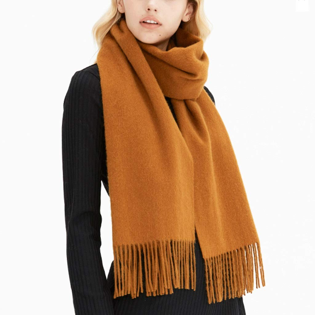 Brownish yellow CCF Scarf Winter Thicken Soft Elegant Classic Scarves Woman Shawl V (color   Turmeric)