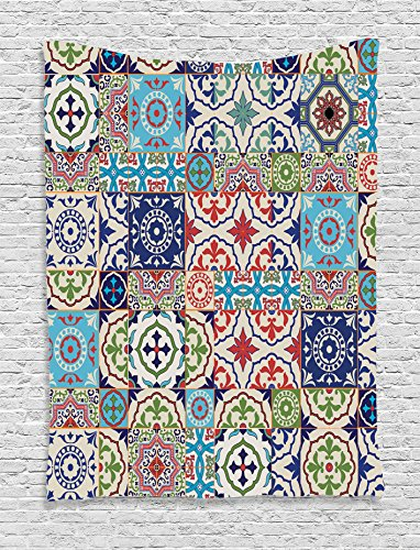 Ambesonne Moroccan Decor Collection, Patchwork Pattern from Colorful Moroccan Tiles Traditional Decorating Illustrations, Bedroom Living Room Dorm Wall Hanging Tapestry, Navy Red