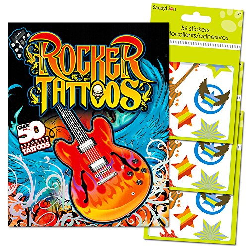Rock Star Stickers and Tattoos Party Favors Pack (Over 150 Rocker Stickers and 50 Rocker Temporary Tattoos)]()