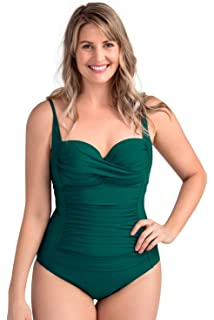 4fe8de3956ec5 PERONA Retro Swimsuit Women s Ruched Vintage Swimwear Tummy Control Swimsuit  Push Up One Piece Bathing Suit