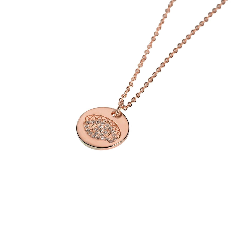 S925 Silver Round Tag Eye Shaped Cubic Zirconia Women Pendant Necklace ANAZOZ Women Jewelry