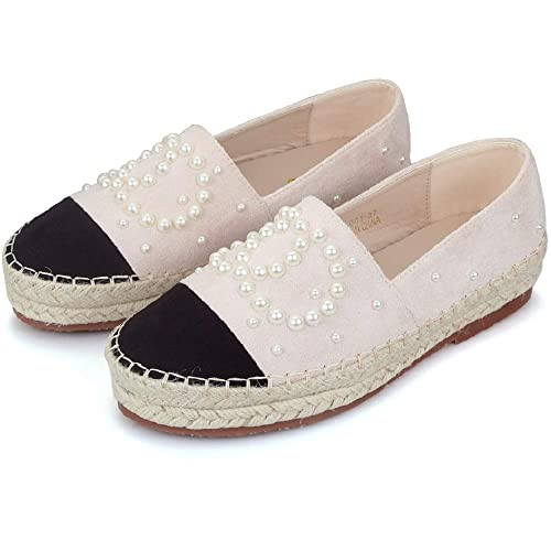 b4c4ed242e0d1 Langou Women's Slip On Loafers Casual Flat Espadrilles Platform Pearl Suede  Driving Holiday Shoes Woven Alpargata