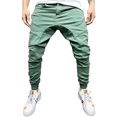 Domple Mens Casual Drawstring Layered Slim Fit Solid Fitness Hip-hop Mid Rise Jogger Pants