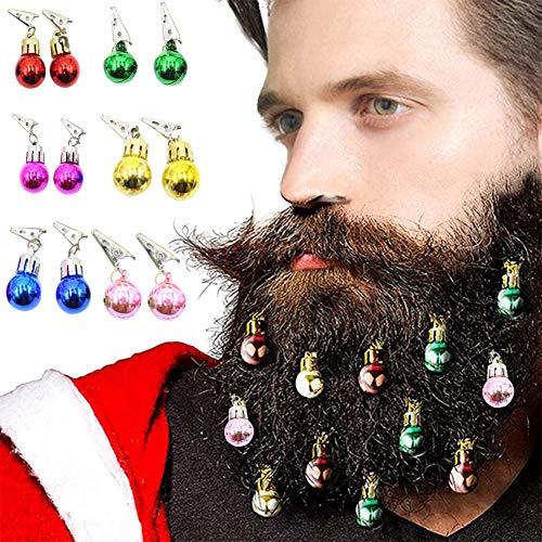 Orgrimmar 12 PCS Christmas Beard Ornaments Colorful Ball Bell Christmas Facial Hair Ball Baubles,Santa Claus Beard Clip