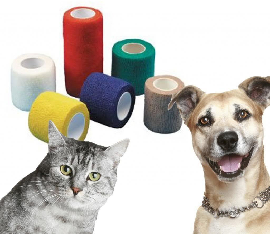6x 5cm x 4.5m Yuzet Red pet and animal friendly non adhesive bandages cat horse dog equines 5280
