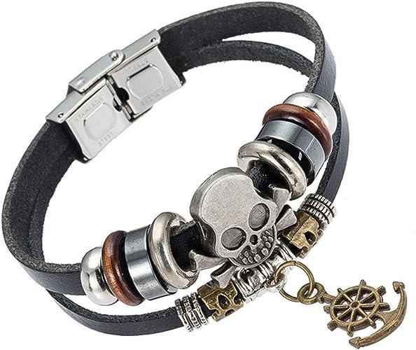 statement jewelry Leather bracelet men women personalized Silver Buffalo skull charm bracelet braided leather band stainless steel