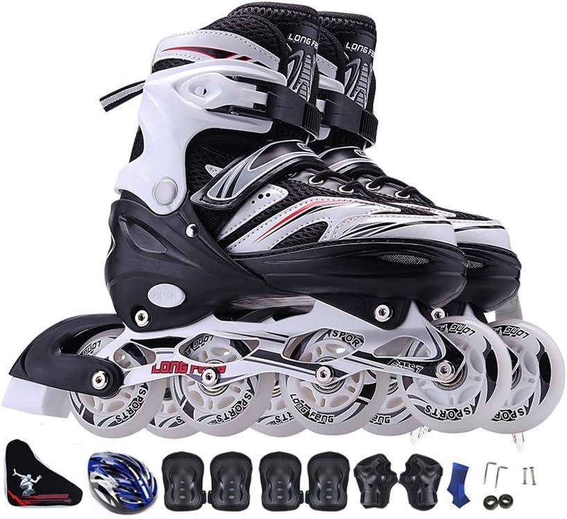 JIANXIN インラインスケート、子供用アダルトローラースケート、男性と女性の初心者に最適、スケート靴、フラッシュホイール付き、青 A EU 43-EU 46