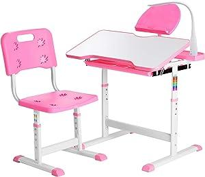Height Adjustable Kids Desk, Functional Children Desk Study Table, Kids Desk and Chair Set, Children's School Desk with Tilt Desktop, Hook, LED Lamp, Book-rack Storage Drawer for Boys & Girls (Pink)