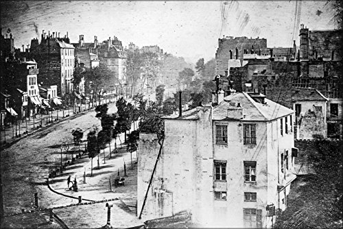 24x36 Poster; Boulevard Du Temple, Paris, 3Rd Arrondissement, Daguerreotype. Believed To Be The Earliest Photograph Showing A Living Person 1838