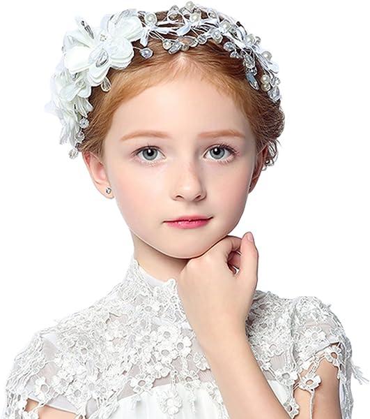 DreamYo 髪飾り 花 子供 発表会 七五三 アクセサリー フォーマル カチューシャ 子供ヘッドドレス 花びら パール