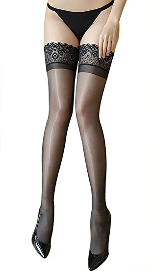 3be04e53248 12D Slim Shine Thigh High Stockings Ultra Shimmery Lace top Non Slip Thin  Sheer (Black