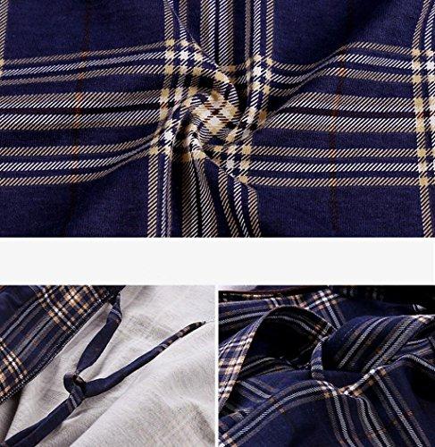 Autunno Blu Accappatoio primavera Cotone Uomo Plaid Green maniche Pigiama Casa Da Comodo Abbigliamento E L Lunghe colore Dimensioni In cqIWpU