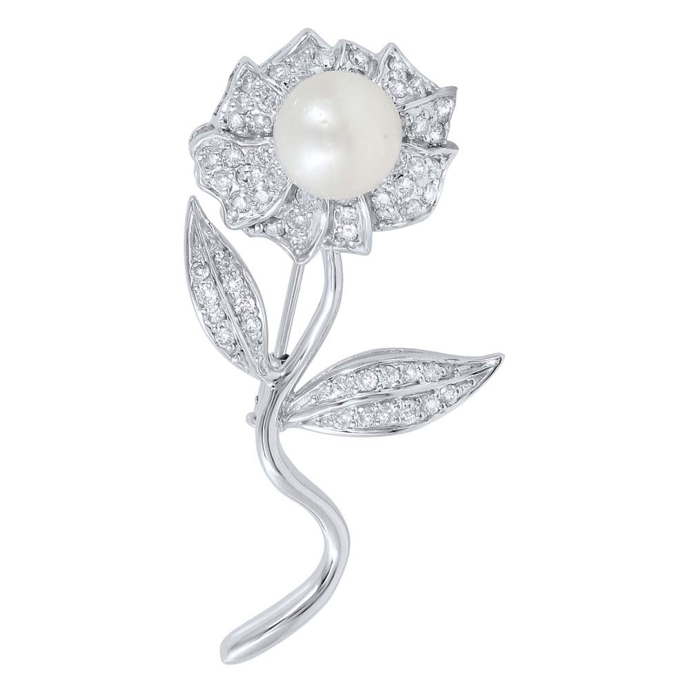 NEW YEAR SALE!!! 14K White Gold Pearl & Round Diamond Brooch